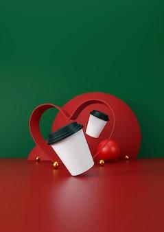 Белая чашка кофе на зеленом и красном фоне