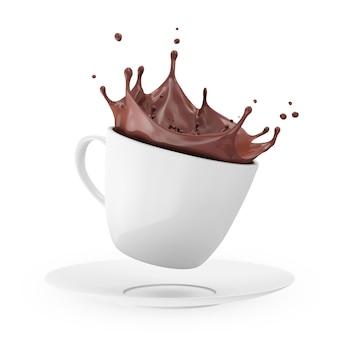 3dレンダリングで分離されたクラウンスプラッシュとホットチョコレートの白いカップ
