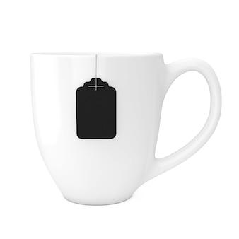 白い背景の上の空白の黒いティーバッグラベルモックアップとお茶の白いカップ。 3dレンダリング
