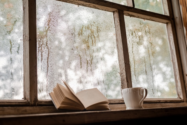 A white cup and old books on the  of a rustic wooden wet window