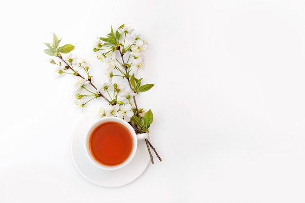 차와 흰색 테이블에 체리의 피 나뭇 가지와 흰색 컵