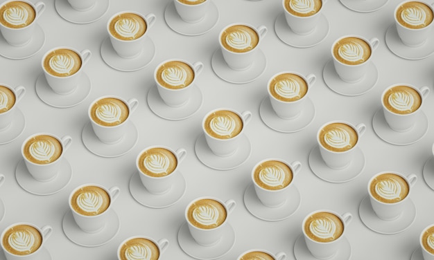 White cups of coffee placed in a table. picture for coffee shop decoration.