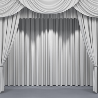 White curtains on a stage background