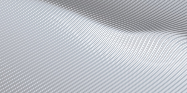 White curve distorted shape parallel lines white plastic tube texture modern abstract 3d illustration