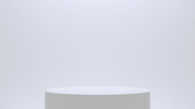White cylinder podium background. 3d render