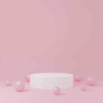 薄いピンク色の背景に白い円柱の製品スタンドと小さなピンク色の泡