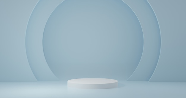 White cylinder product stand in blue room ,studio scene for product ,minimal design,3d rendering