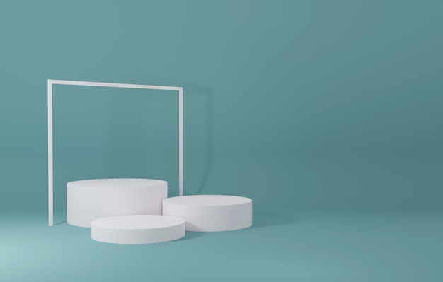 White cylinder product stand in green room ,studio scene for product ,minimal design,3d rendering