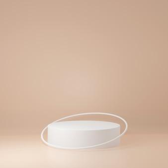 Стенд продукта белый цилиндр в бежевом фоне 3d-рендеринга