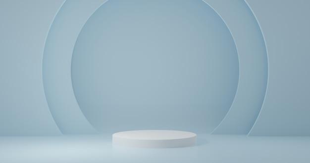 Стенд продукта белый цилиндр в синей комнате, студийная сцена для продукта, минималистичный дизайн, 3d-рендеринг