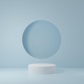 파란 방에있는 백색 실린더 제품 대, 제품을위한 스튜디오 장면, 최소한의 디자인, 3d 연출