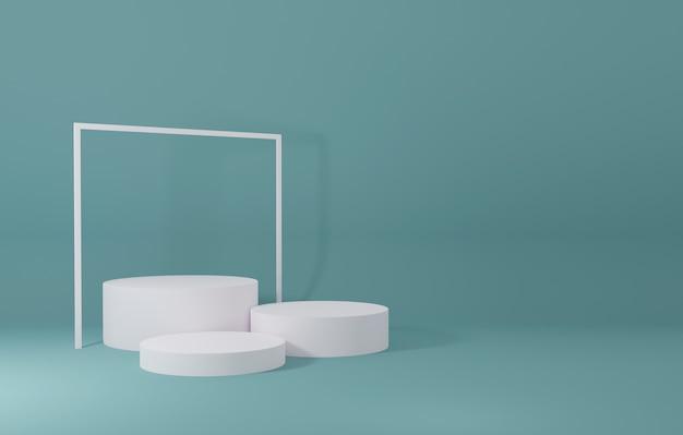 녹색 방에있는 백색 실린더 제품 대, 제품을위한 스튜디오 장면, 최소한의 디자인, 3d 연출