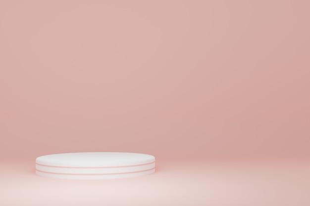 ライトピンクの背景の3dレンダリングで白いシリンダー製品スタンド