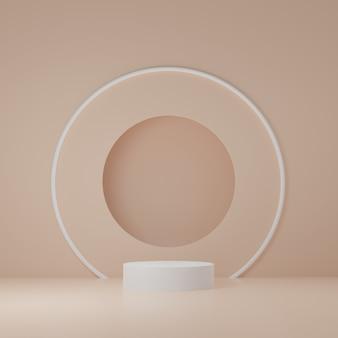 オレンジ色の部屋に白いシリンダー製品スタンド、製品のスタジオシーン、最小限のデザイン、3dレンダリング