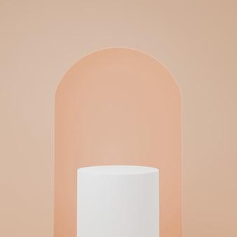 주황색 방에있는 백색 실린더 제품 대, 제품을위한 스튜디오 장면, 최소한의 디자인, 3d 연출
