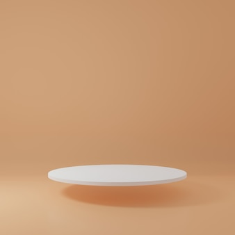 オレンジ色の部屋にある白いシリンダー製品スタンド製品の最小限のデザインのスタジオシーン3dレンダリング