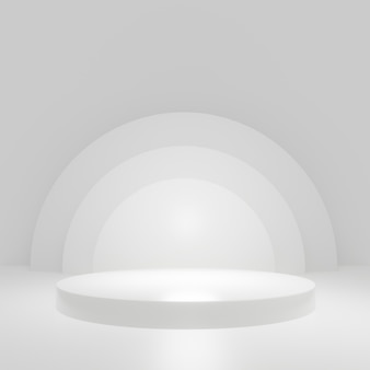 白い部屋の白いシリンダー製品スタンド、製品のスタジオシーン、最小限のデザイン、3dレンダリング