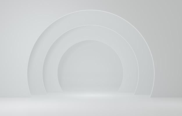 백색 방에있는 백색 실린더 제품 대, 제품을위한 스튜디오 장면, 최소한의 디자인, 3d 연출