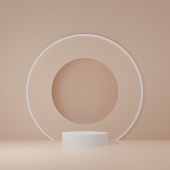 White cylinder product stand in orange room ,studio scene for product ,minimal design,3d rendering
