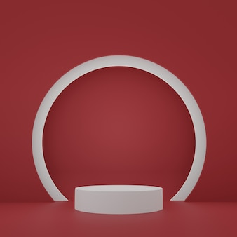 White cylinder product stand in red room studio scene for product minimal design3d rendering chinese new year