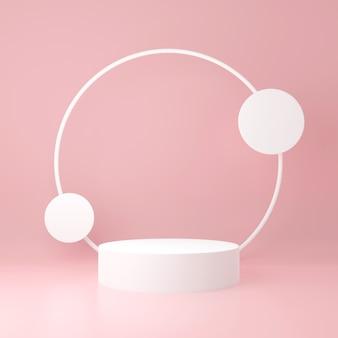 薄いピンク色の背景に円が描かれた白い円柱製品スタンド