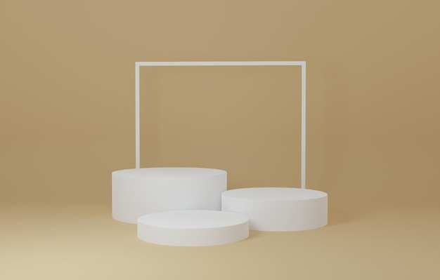 White cylinder product stand in yellow room ,studio scene for product ,minimal design,3d rendering