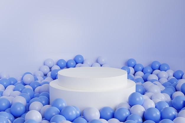 パステルブルーの背景にボールのある製品の白い円筒形の表彰台または台座、最小限の3dイラストレンダリング