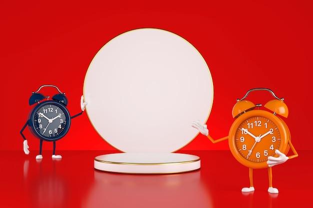 Пьедестал этапа продуктов белых цилиндров с персонажами талисмана будильника на красной предпосылке. 3d рендеринг