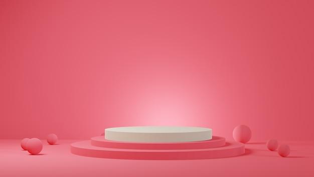ピンクのパステルカラーの背景に白い円筒形の表彰台