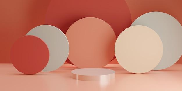 ピンクの部屋に複数の円柱形の白い円筒形の表彰台