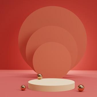 ピンクの部屋に複数の金のシリンダーを持つ白い円筒形の表彰台