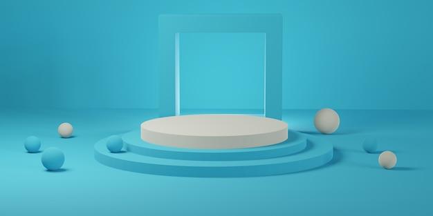 青い部屋に正方形のフレームの形をした白い円筒形の表彰台