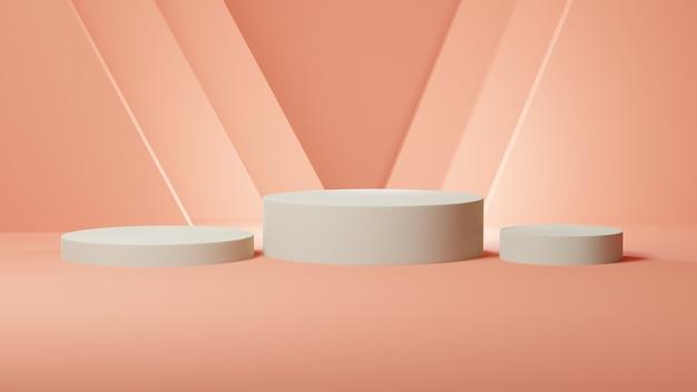 ピンクのパステルカラーの部屋に三角形の形をした白い円筒形の表彰台