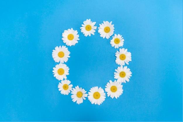 白いデイジーは、テキストの夏のためのスペースでデイジー春のバナーの円の円に配置されています