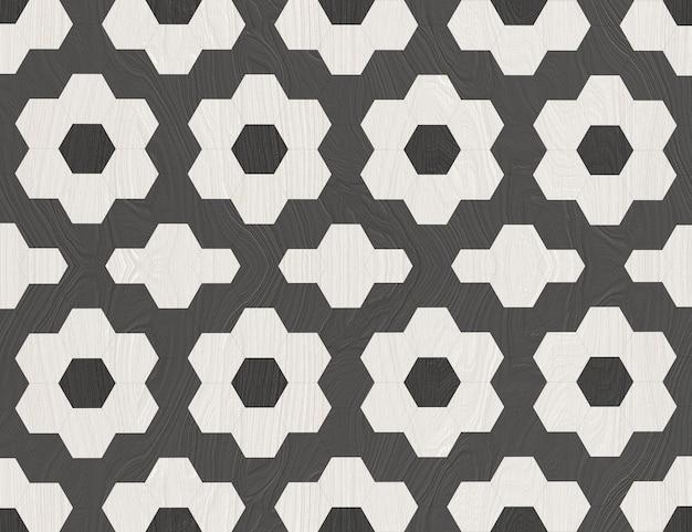 White and dark hexgonal flower pattern wall background.