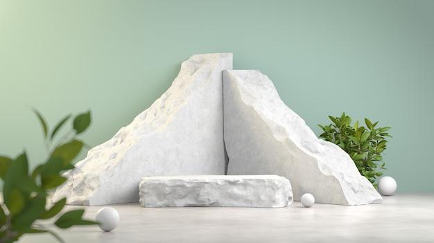 흰색 파편 바위 연단 디스플레이 추상 3d 렌더링