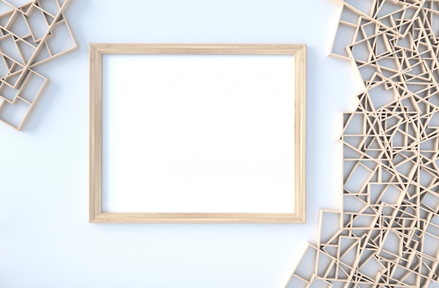 White decor with wood shelves wall, branch, picture frame. 3d render. the sun shines through the window into the shadows.