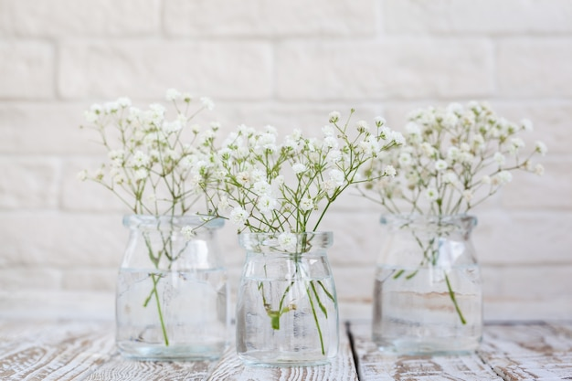 明るい背景のガラスの花瓶にカスミソウの花の白い繊細な。家の内部の花の構成。ソフトフォーカス