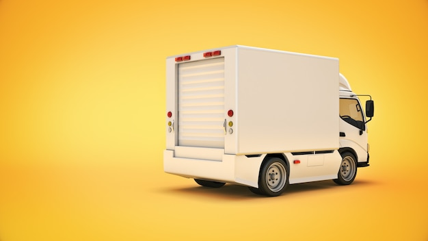 흰색 배달 트럭 3d 렌더링