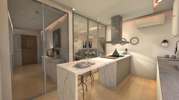 白いデザインのキッチン