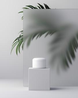 천연 화장품 크림, 혈청, 스킨케어 빈 병 포장, 잎 허브, 바이오 유기농 제품의 흰색 디자인. 아름다움과 스파 개념입니다. 3d 일러스트입니다.