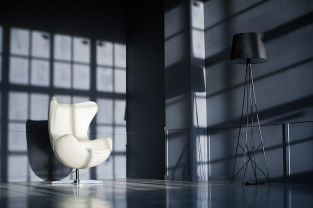 White designer chair in the interior of a black loft studio.
