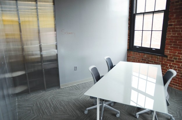 White desk in the meeting room