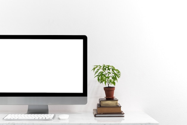 White desktop computer for mockup your advertise