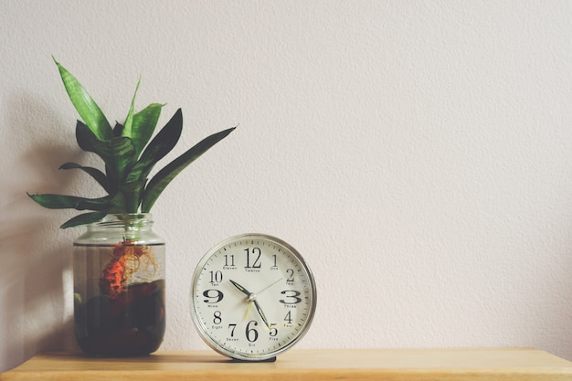 White dial table alarm clock or bedside clock with plants in glass bottles.