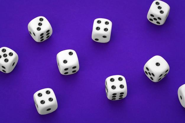 White dices on purple