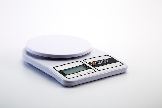 White digital kitchen scale gray