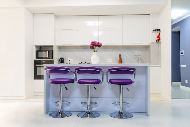 White dining table in modern kitchen