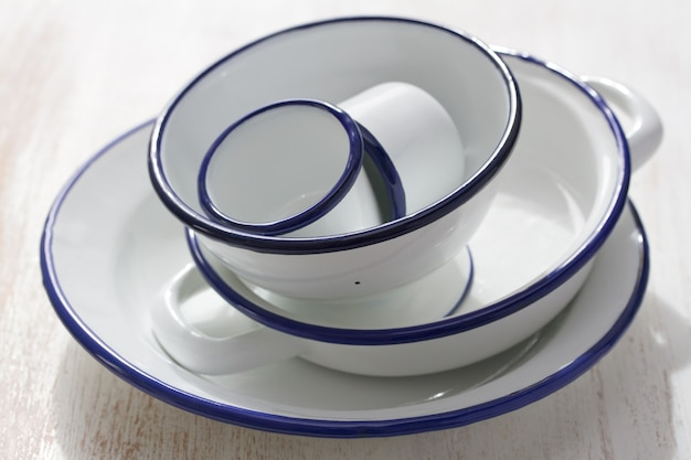 White dishes on white wooden