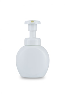 White dispenser head pump body plastic bottle cosmetic hygiene conditioner with body moisturising isolated